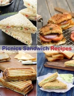 Picnic Sandwich recipes - Veg Picnic Sandwich Recipes, Plain, Toasted and Grilled Picnic Sandwiches Veg Sandwich, Picnic Sandwiches, Sandwich Recipes, Snack Recipes, Cooking Recipes, Indian Snacks, Indian Food Recipes, Vegetarian Recipes, Picnic Snacks