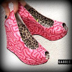 Use Your Brains Platform Vegan Wedges Shoes by GabbieCustomArt