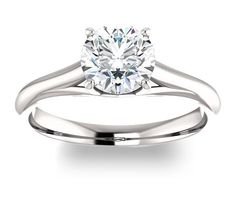 1.00ct (6.5mm) Round 14K White Gold Solitaire Engagement Ring