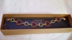 "New Monet 7"" Gold Tone Red Rhinestone Heart Bracelet Gift Box Fashion Jewelry #Monet #Bracelet"