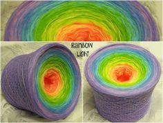 Rainbow Light: 3 fädig Hochbauschacryl 7 Farben Mandarin Vanille Apfelgrün Eisblau Mittelblau Lavendel Orchid