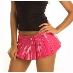 SEXY Pink PVC PLEATED MICRO MINI SKIRT NWTS FORPLAY MICRO TINY VINYL MINI SKIRT
