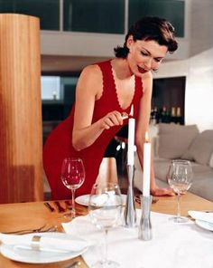 Romantic Dinner and Woman: Character/World Like the simplicity of the dinner and the way that she has made herself up as if to please her partner.