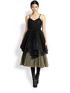 Marc by Marc Jacobs Glittered Asymmetrical Tiered Tulle Dress