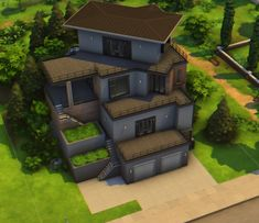 Sims 4 House Building, Sims House Plans, Modern House Plans, Sims 4 House Design, Casas The Sims 4, Play Sims, Sims 4 Build, House Blueprints, House Layouts