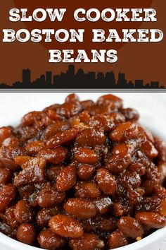 Slow Cooker Boston Baked Beans - Simmered in molasses makes these Boston Baked B. Slow Cooker Boston Baked Beans – Simmered in molasses makes these Boston Baked Beans dark, sweet Canned Beans Recipe, Canned Baked Beans, Baked Beans Crock Pot, Best Baked Beans, Slow Cooker Baked Beans, Homemade Baked Beans, Baked Bean Recipes, Beans Recipes, Navy Bean Recipes
