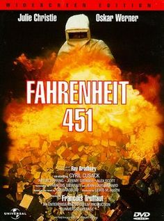 Fahrenheit 451 by Ray Bradbury. A book banned in the U. that is about Banning Books! Name 1 Banned book you have read! Julie Christie, Fahrenheit 451, Great Sci Fi Movies, Information Poster, Romance, Famous Books, Movie Covers, Science Fiction Books, Cinema Posters