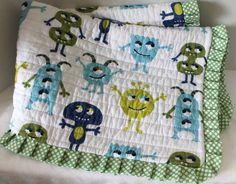 Blue and Green Baby Boy Monster Quilt Baby Shower by MyLilBaby