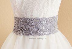 Gray Beaded Alencon Lace Sash Belt, Bridal Sash, Bridesmaid Sash, Wide Lace Sash , SH-42