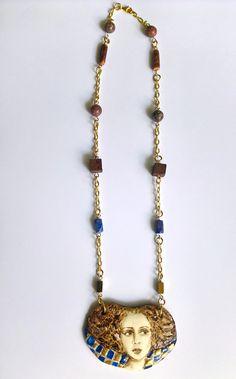 Unique necklace with porcelain and natural stones Brass Necklace, Unique Necklaces, Natural Stones, Porcelain, Design, Porcelain Ceramics, Tableware