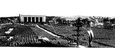 """Grundsteinlegung für die """"Halle der Volksgemeinschaft"""" und Beginn der Bauarbeiten seit 1937. Quelle: Lektüre Vergegenständliche Erinnerung"""