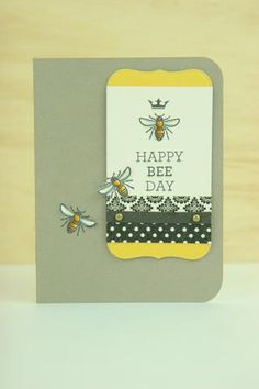 Cute and clean handmade birthday card design. All stamps, dies, and card stock by A Muse Studio. Bee Happy stamp set and Bee Happy die set. #cas #diy #stamping #handstamped #papercrafts #cardideas #amusestudio #happybday