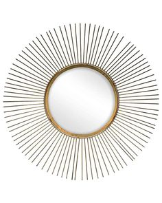 Sun - Starburst Wall Mirror in Antique Gold, Large
