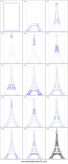 How to Draw an Eiffel Tower printable step by step drawing s. How to Draw an Eiffel Tower printable step by step drawing sheet : Cute Easy Drawings, Art Drawings Sketches Simple, Pencil Art Drawings, Doodle Drawings, Drawing Ideas, Drawing Faces, Eiffel Tower Painting, Eiffel Tower Art, Eiffel Tower Drawing Easy