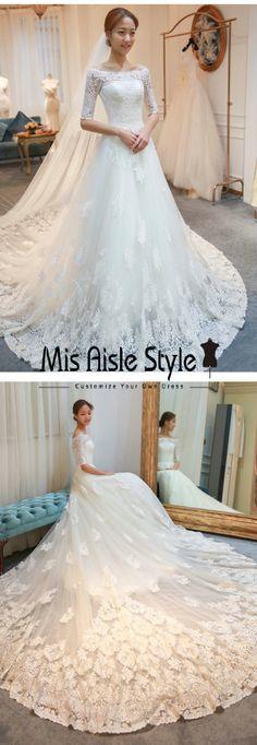 A-line Off Shoulder Half Sleeves Lace Wedding Dresses