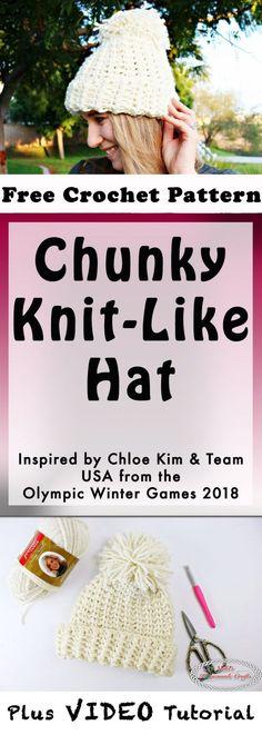 Chunky Knit-Like Hat - Free Crochet Pattern by Nicki's Homemade Crafts #crochet #chloekim #teamUSA #chunkyhat #knitlike #hat #pompom #diy #crochet