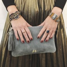 Our Grand Cabaret designs mix effortlessly with standby c+i favorites, like our convertible suede clutch! Find your perfect match on my boutique now!