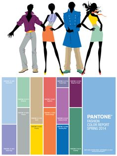 Spring 2014 Pantone Fashion Color Trend #FCRS14 #pantone #nyfw //// The new Pantone color palette for Spring 2014 is a pairing of soft pastels with vivid colors