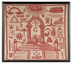 """Masonic Kerchief with Song Lyrics to Tune """"Attic Fire"""", American, ca numerous printed emblems in red on natural. on Jun 2009 Vintage Bandana, Kerchief, Song Lyrics, Attic, Vintage World Maps, Auction, Textiles, Songs, Jun"""