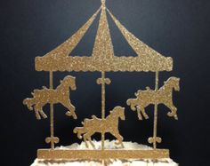 Carousel cake topper with name personalized by ThePinkPapermill