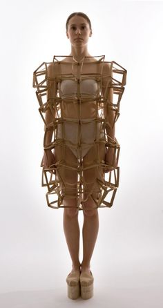 Sculptural Fashion - dress form with 3D connecting cube construct; wearable structures; fashion architecture // Mina Lundgren