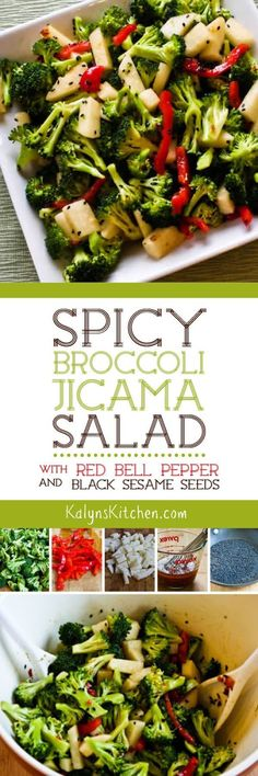I'm in love with this delicious (and low-carb) Spicy Broccoli-Jicama Salad with Red Bell Pepper and Black Sesame Seeds! This is great when you want a side dish that will be a wow! [from KalynsKitchen. Healthy Recipes, Ketogenic Recipes, Salad Recipes, Vegetarian Recipes, Cooking Recipes, Appetizer Recipes, Jicama Recipe, Spicy Broccoli, Soup And Salad