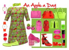 """An Apple a Day"" by kelly-floramoon-legg ❤ liked on Polyvore featuring B Brian Atwood, Tabitha Simmons, Yosi Samra, MCM, Coach, Michael Kors, Hring eftir hring, Laruze, Kate Spade and Versus"