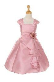 Click to enlarge : Dusty Rose Elegant Ruffle Taffeta Flower Girl Dress BLEC721-DR