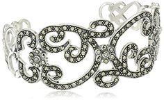 Sterling Silver Marcasite Bangle Cuff…