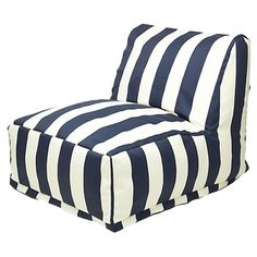 A Great Indoor/Outdoor Lounger in Navy/White. Move this whenever you need extra seating for company and the zippered slipcover is machine washable + tumble dry on low. Waterproof too.