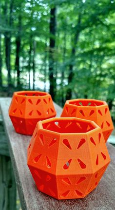 3D Printed Tangerine Orange Octagon Fall Autumn Flower Petal Pattern Tea Light Candle Holder - INCLUDES LED CANDLE - Set of Three