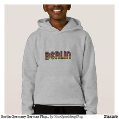 #Berlin #Germany German Flag Colors Typography #Hoodie