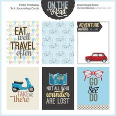 Freebies – 3×4 Journaling Cards – On The Road