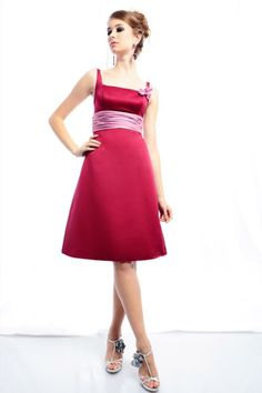 A-line Square Neck Gathered Waistband Flower Detail Satin Cocktail Dress-soc0060,  $152.95