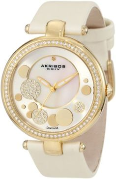 Akribos XXIV Women's AKR434WT Impeccable Quartz Diamond Sunray Mother-Of-Pearl White Dial Watch: Watches: Amazon.com