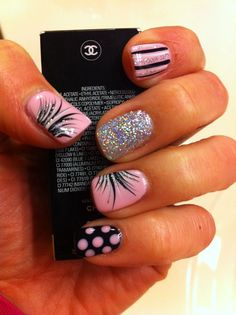 Strawberry Smoothie Pink/black gel nails. Nail Art. Stripes dots