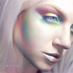 """""""Today's post comin atcha early! Some light pastel avant garde action to switch things up a bit! ⠀ Used pretty much awlll the newer @sugarpill pigments…"""""""
