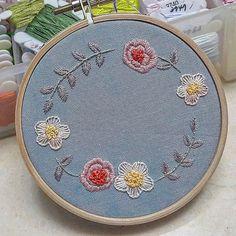 #꽃리스  #단순한  #프랑스자수 #embroidery