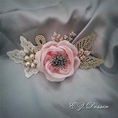Pink ribbon Flower Bridesmaid Vintage hair от Emeliebeads на Etsy