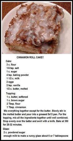 Cinnamon Roll Cake for dessert or brunch! 13 Desserts, Delicious Desserts, Yummy Food, Healthy Desserts, Healthy Recipes, Food Cakes, Cupcake Cakes, Cupcakes, Wallpaper Food