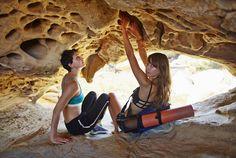 Strappy Sports Bra, Fun Color Yoga Mat, Blue Sports Bra, Black Yoga Pants #adventurous #cave #beach
