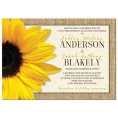 Elegant rustic country burlap and lace sunflower wedding invitation. Great for a fall / autumn or summer wedding. Bright yellow sunflower paired with burlap and lace.