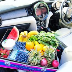 """1,406 Likes, 58 Comments - Rebecca Gawthorne 🌴 (@nourish_naturally) on Instagram: """"Fresh fruit haul! 🍉🍌🍇🍓🍍. This precious cargo deserves a front seat next to me. 😅 Time to cue the…"""""""