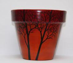 Terra cotta pot / Original painting /Trees by Lukan4Art on Etsy, $17.99
