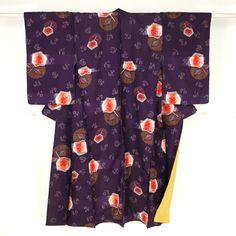 Purple komon kimono /【小紋】紫色地抽象花柄銘仙