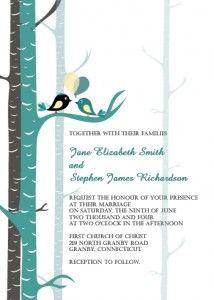 Teal Love Birds Wedding Invitation
