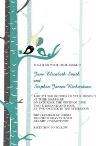 Teal Love Birds Wedding Invitation