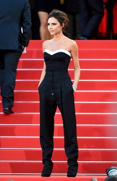 Victoria Beckham in Cannes, wearing one of her own designs.