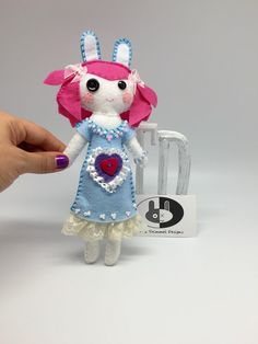 Art Doll button eye stuffed Bunny Doll by annatrimmeldesigns