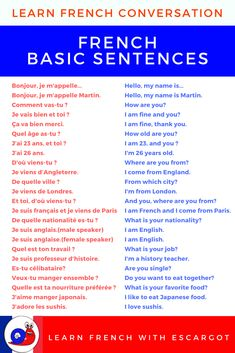 Learn French basic phrases with audio files to build up your vocabulary ! French Language Basics, French Basics, French Language Lessons, French Language Learning, French Lessons, German Language, Spanish Lessons, Japanese Language, Spanish Language